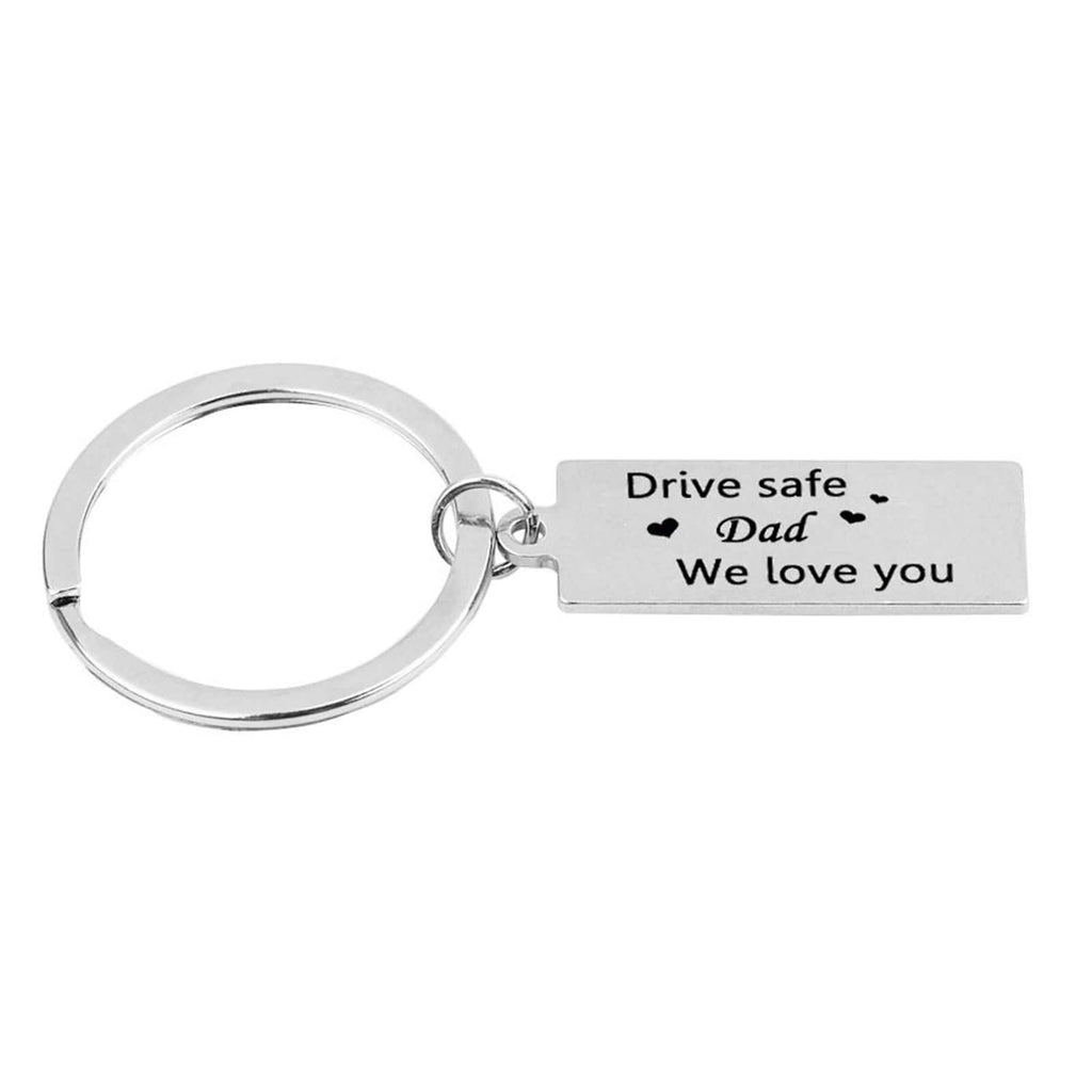 Key Rings Diy Stainless Steel Accessory for Men Drive Safe Dad We Love You Silver