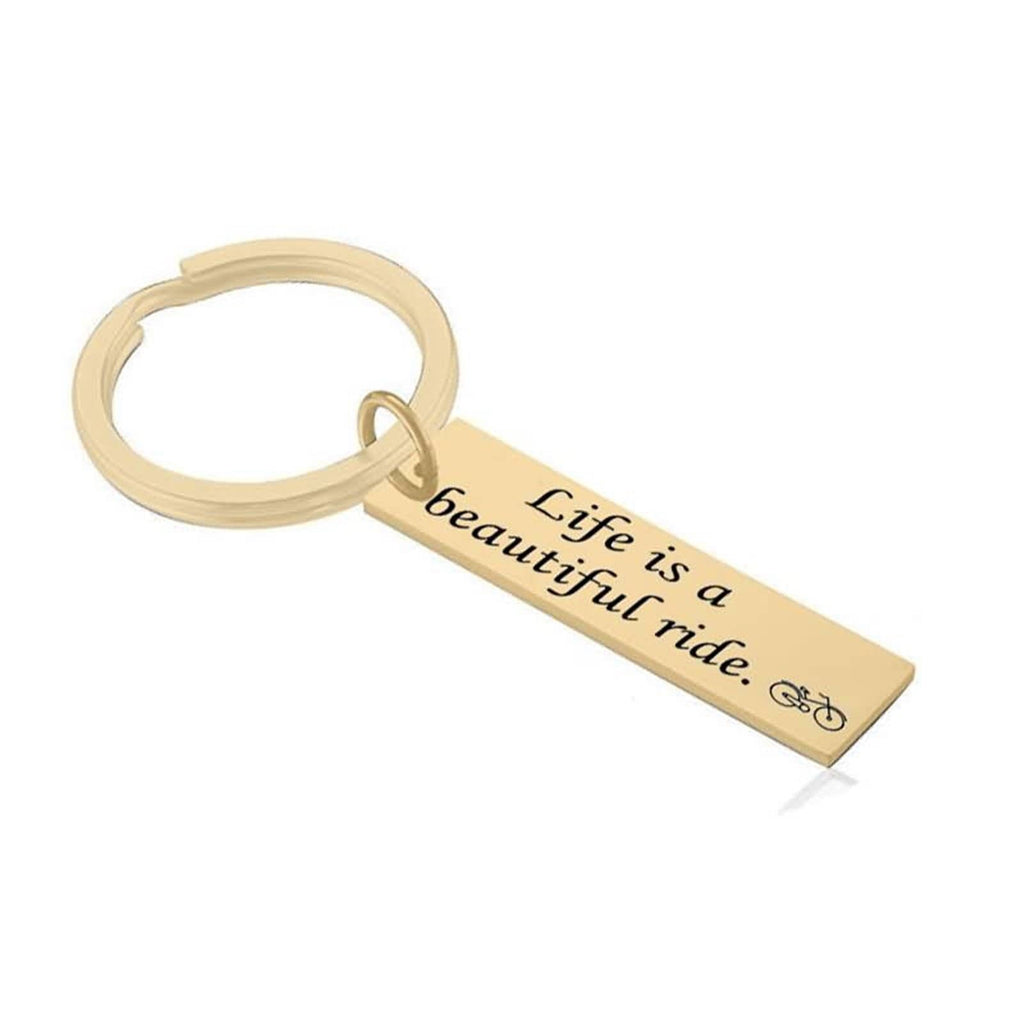 Key Rings Engrave Stainless Steel Accessory for Men Life Is A Beautiful Ride Silver Gold