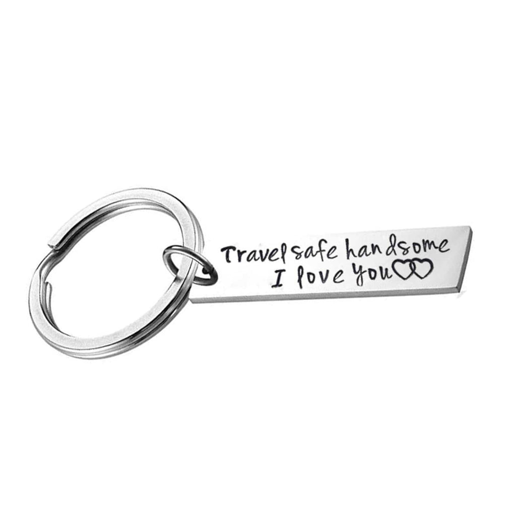 Keyring Girls Stainless Steel Jewelry Travel Safe Handsome I Love You Silver