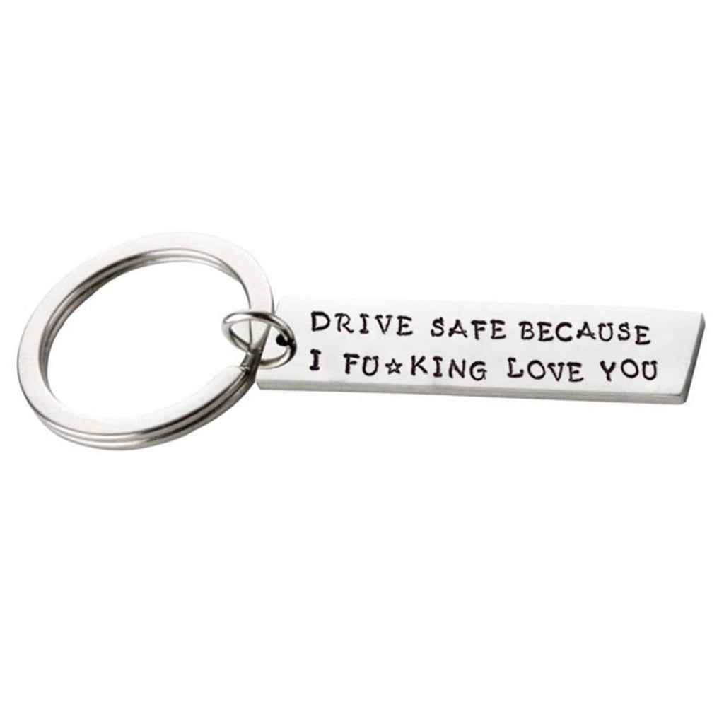 Keyrings for Dads Stainless Steel Keychain Drive Safe Sexy