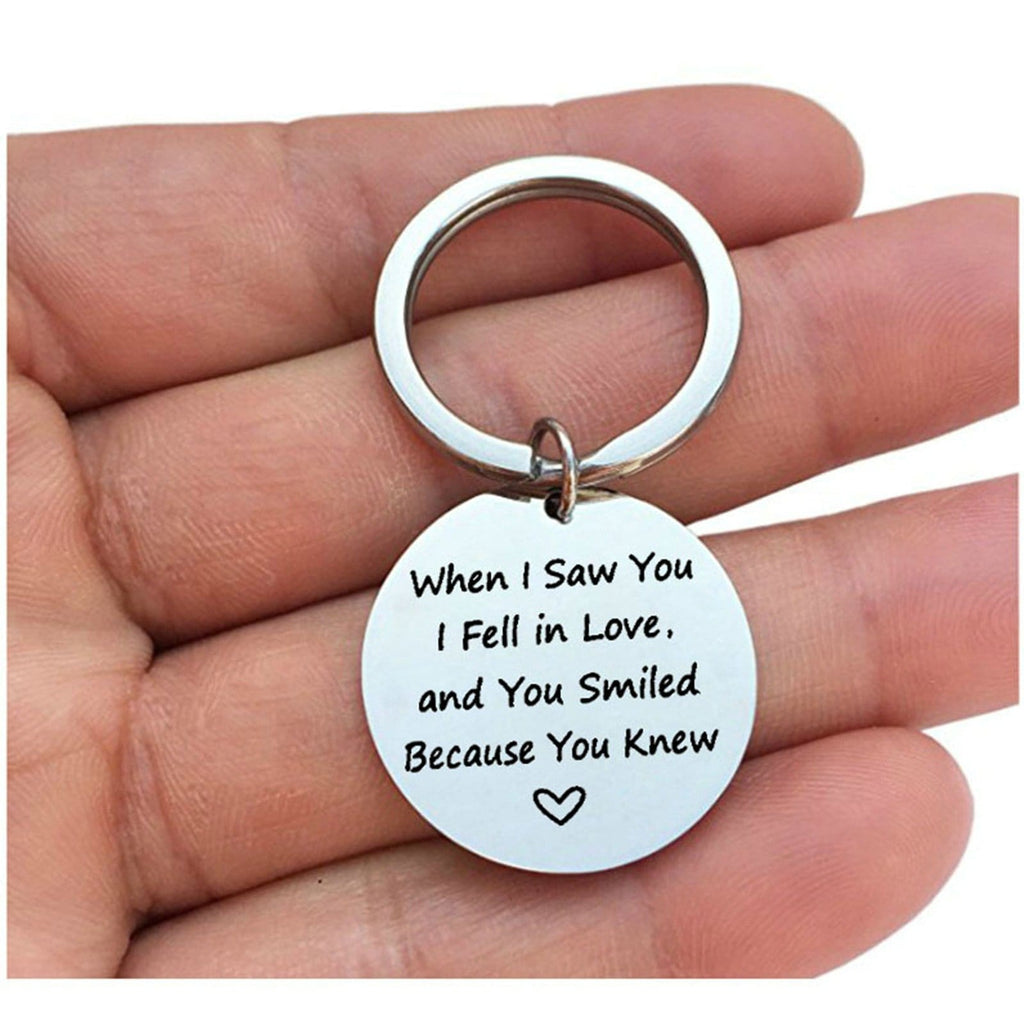 Key Rings for Her Stainless Steel Jewelry When I Saw You I Fell In Love Silver