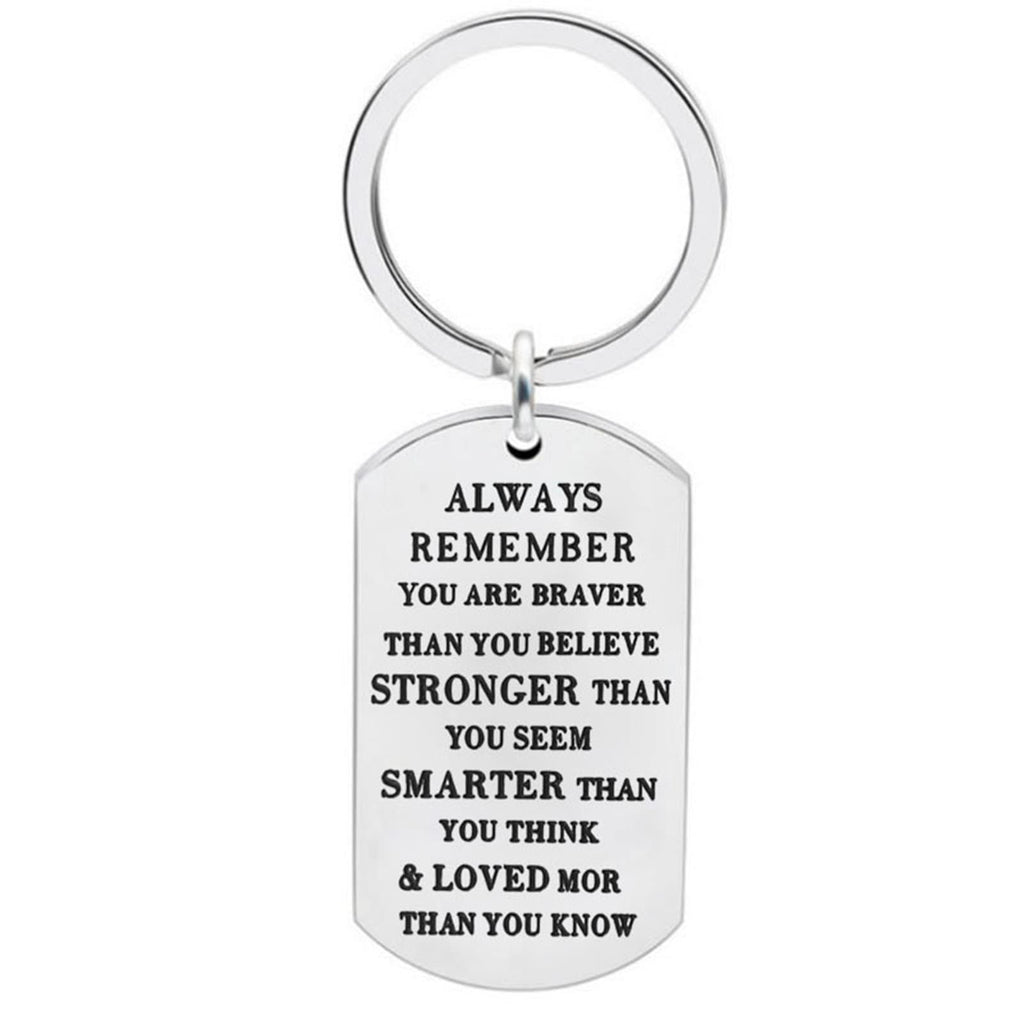 Keyrings Wedding Gifts Stainless Steel Keychain Dog Tag Always Remember You Are Braver...