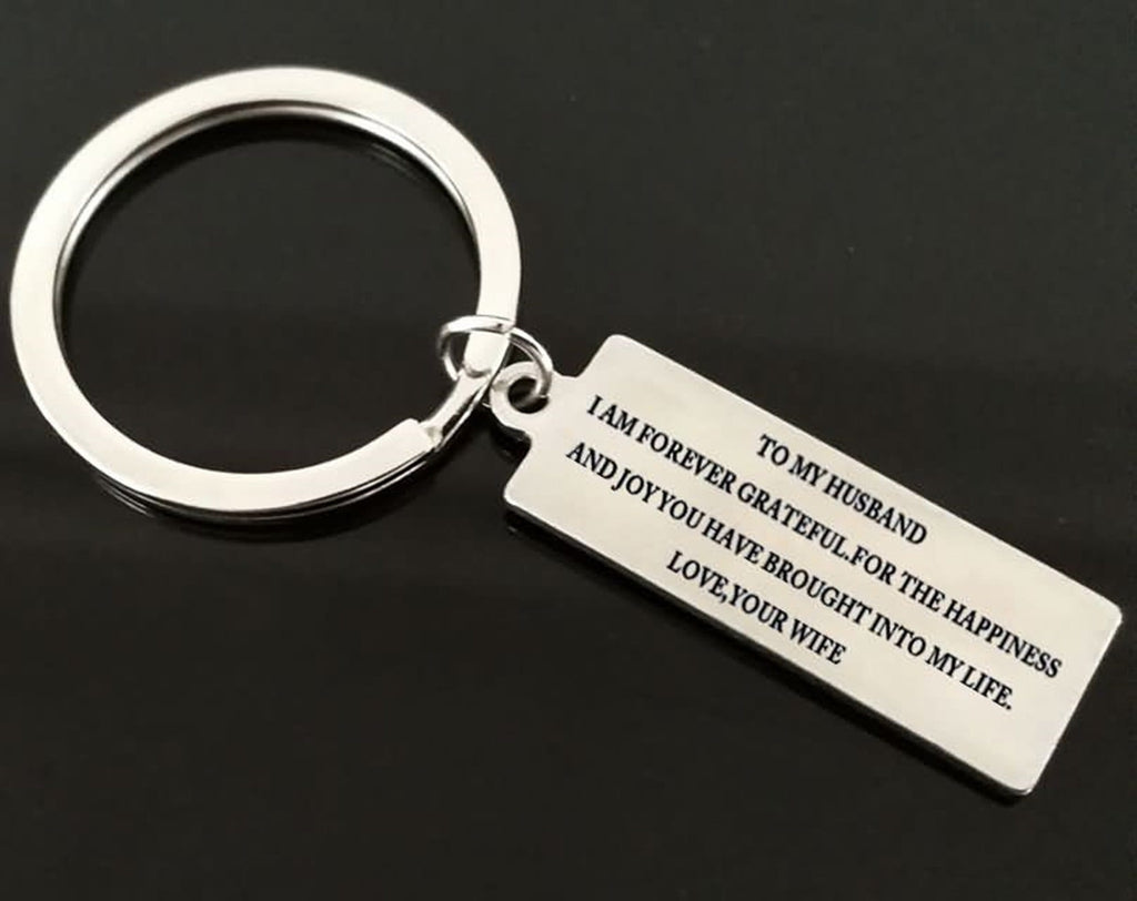 Keychains for Bike Stainless Steel Accessory for Men To My Husband Love, ...Your Wife Silver