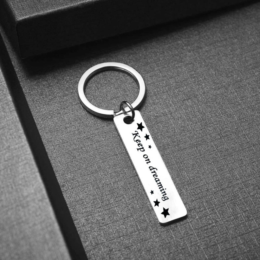 Keychains for Car Keys Stainless Steel Keychain Keep On Dreaming