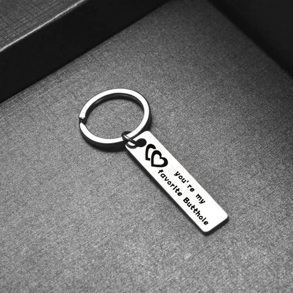Keychain Backpack Stainless Steel Keychain for Unisex You're My Favorite Butthole Silver