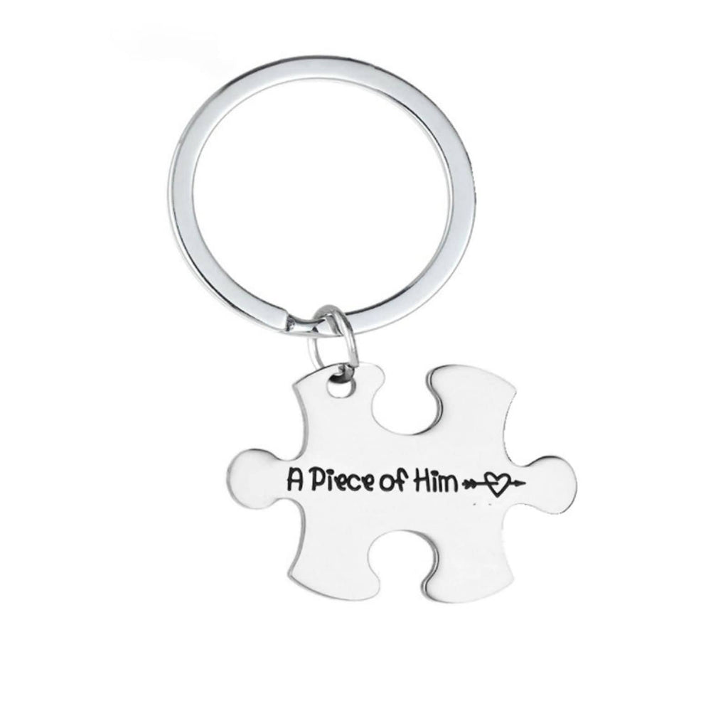 Key Rings Nickle Stainless Steel Accessory for Men Puzzle A Piece Of Him Silver