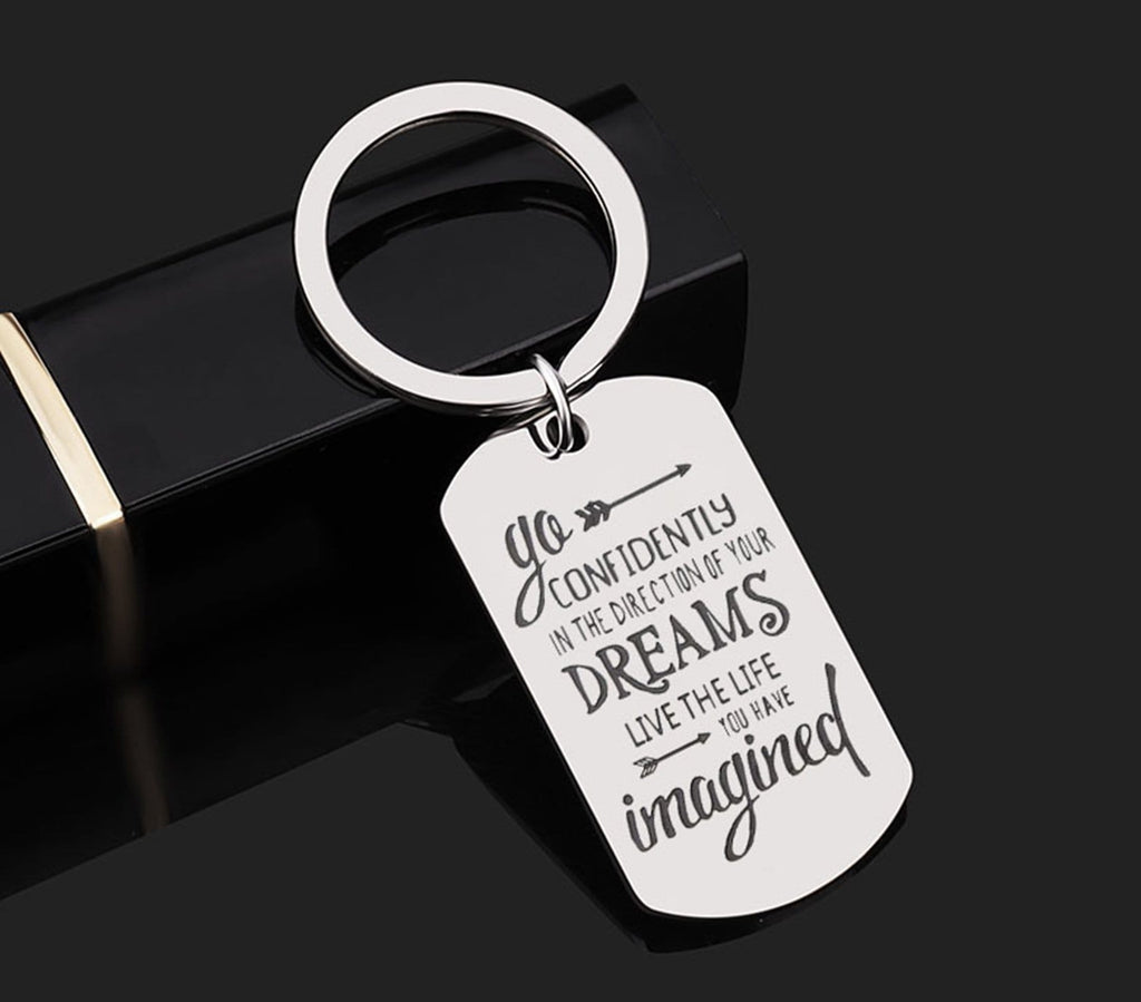 Key Rings Initial Stainless Steel Keychain Dog Tag Go Confidently In The Direction Of Your Dreams