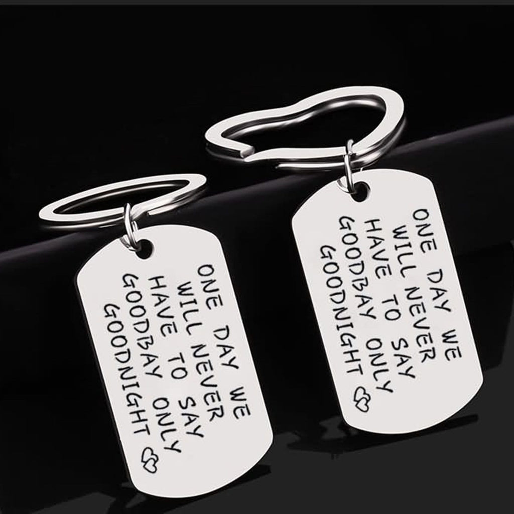 Key Rings Diy Stainless Steel Accessory One Day We Will Never Have To Say Goodbye Dog Tag Heart Silver