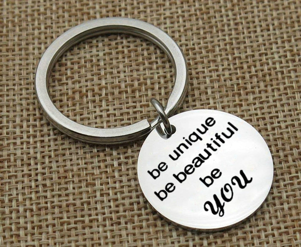 Key Rings Keychain Stainless Steel Keychain for Unisex Heart Engraved Be Beautiful Be You Silver