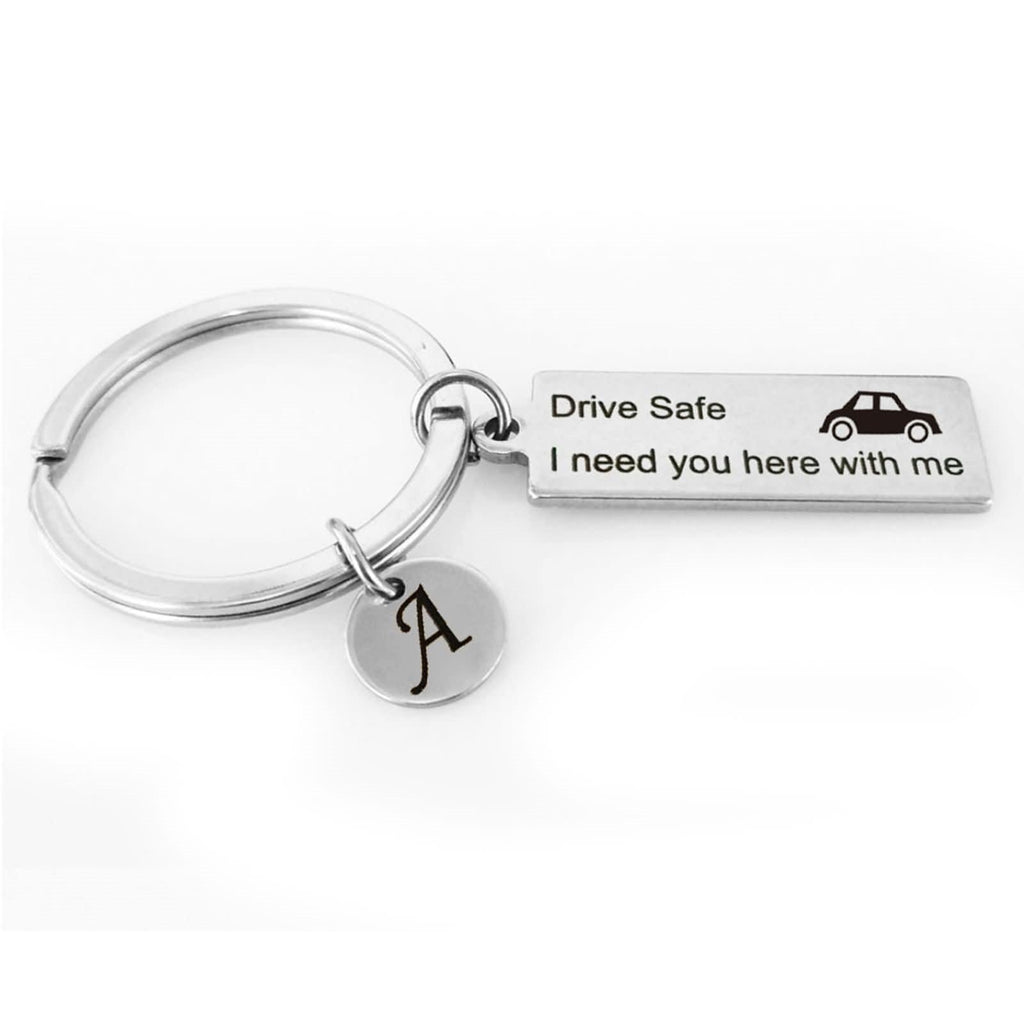 Keyrings for Dads Stainless Steel Accessory for Men Car Drive Safe I Need You Here With Me Letter A Silver