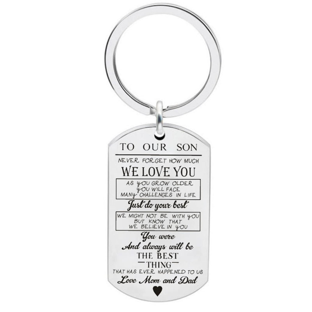 Key Rings for Women Stainless Steel Keychain Dog Tag To Our Daughter Never Forget How Much We Love You
