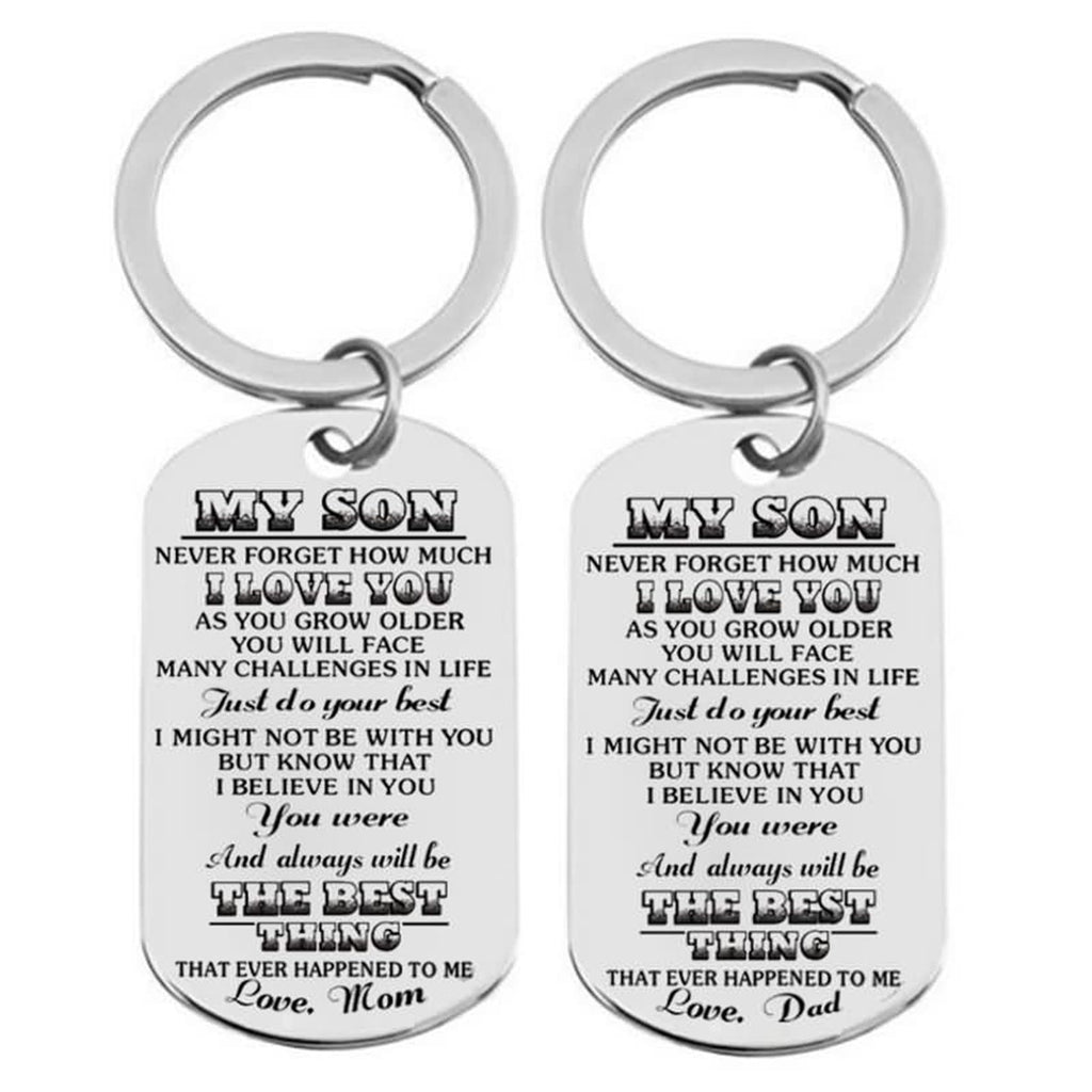 Keyrings for School Bags Stainless Steel Accessory for Men Dog Tag To My Daughter ...Dad Silver