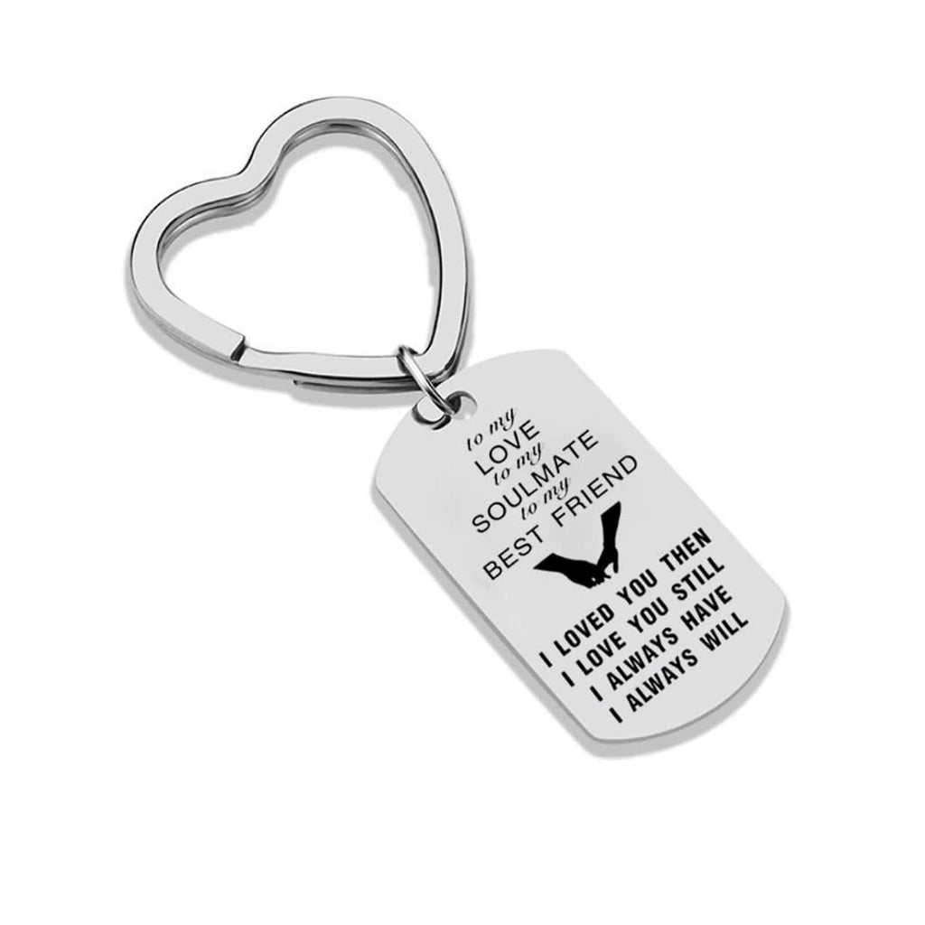 Keychains for Kids Stainless Steel Keychain for Unisex Heart To My Love Silver