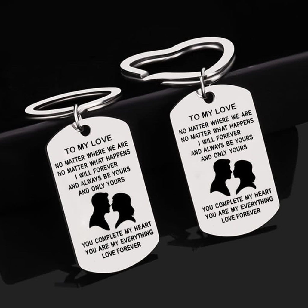 Keychains Kids Stainless Steel Keychain for Unisex Dog Tag To My Love Silver