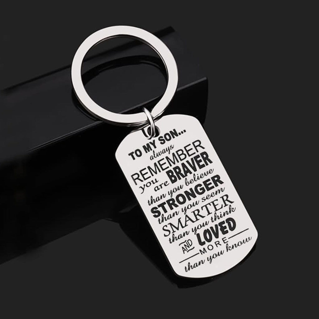 Keychain Access Stainless Steel Accessory for Men Dog Tag To My Son Silver