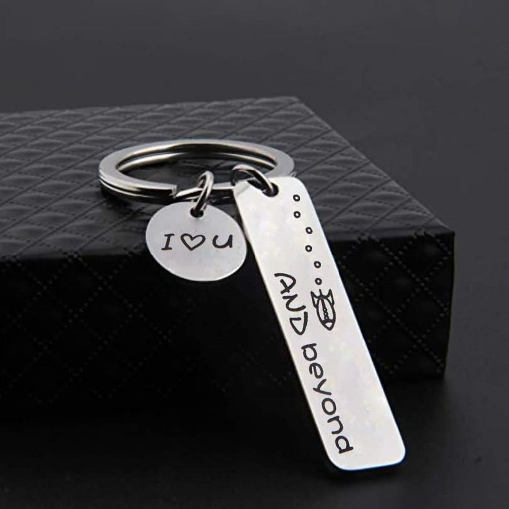 Keychain Rings Stainless Steel Accessory for Men I Love You And Beyond Silver