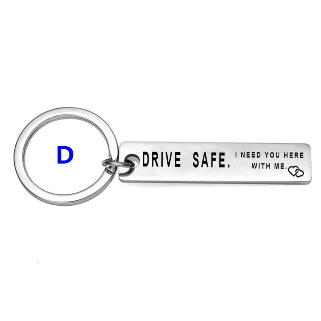 Car Key Keyring Stainless Steel Accessory for Men Drive Safe Handsome Because I Love You Silver