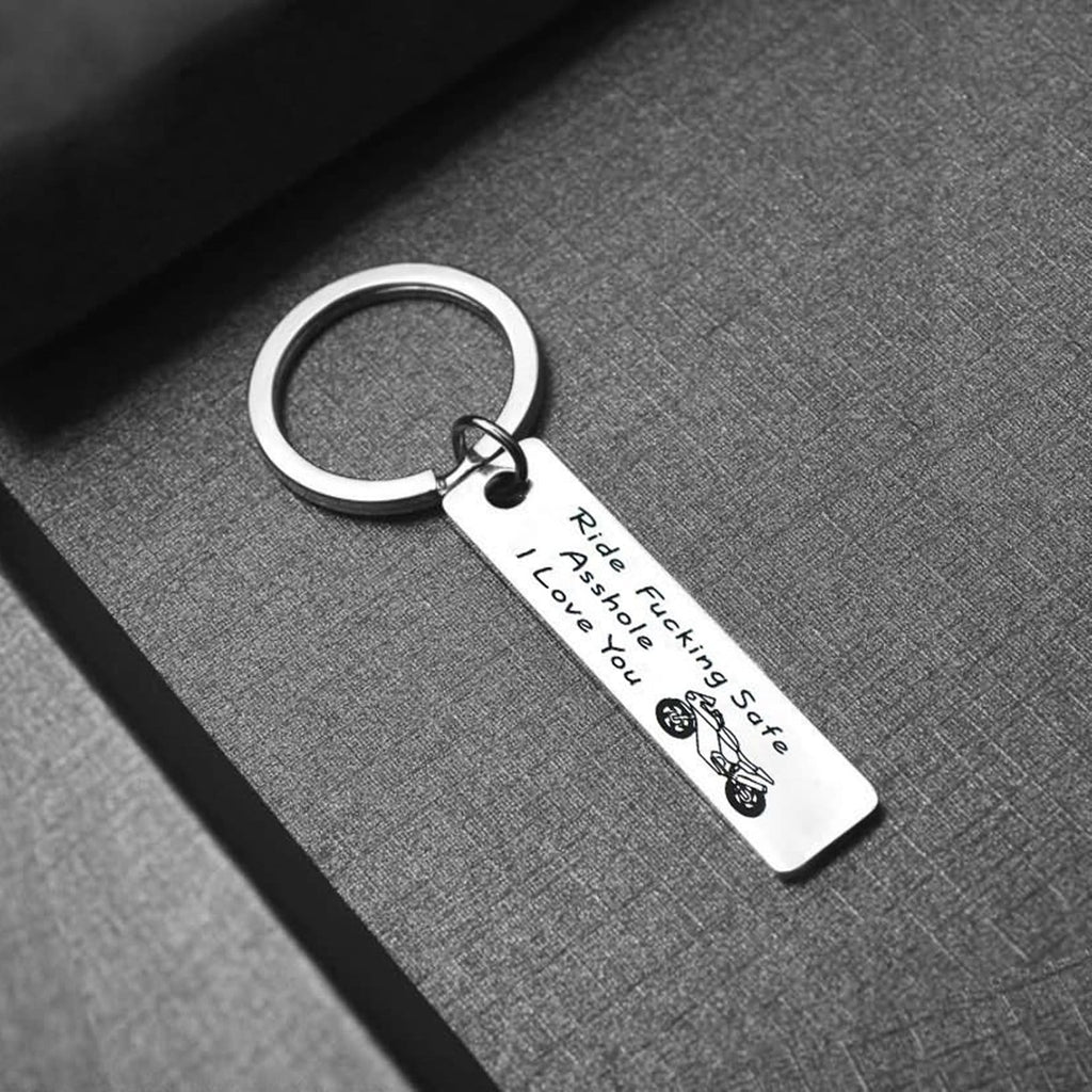 Novelty Car Keyring Stainless Steel Keychain for Unisex Ride Fucking Safe Asshole I Love You Silver
