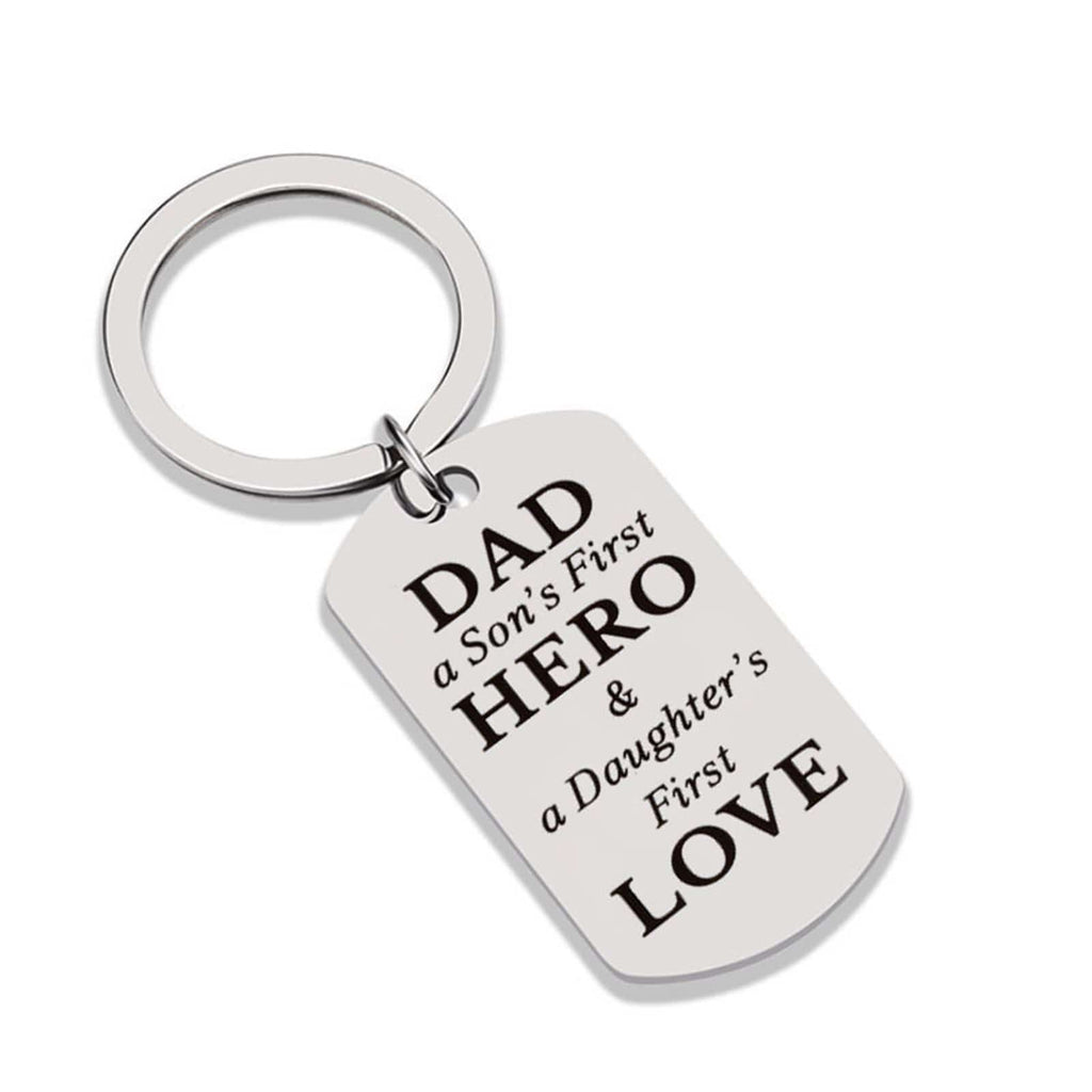 Keychain Knot Stainless Steel Keychain Dog Tag Dad A Son's First Hero