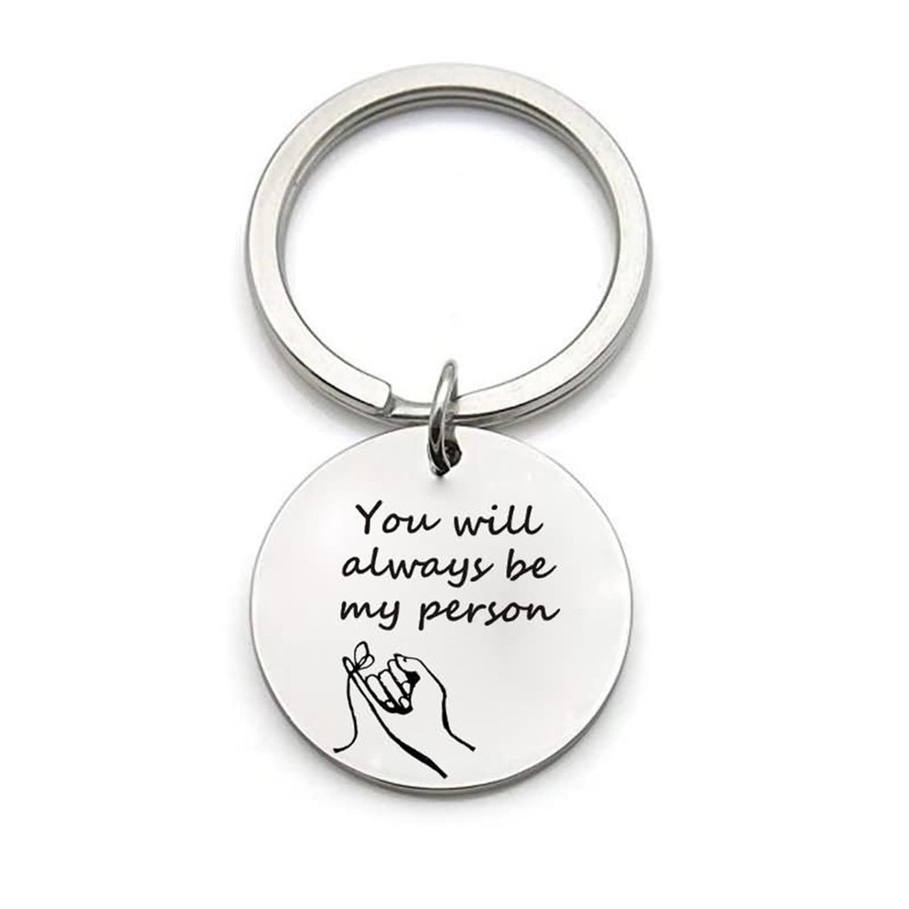Keychain Key Stainless Steel Accessory for Men You Are My Person Round Dog Tag Silver
