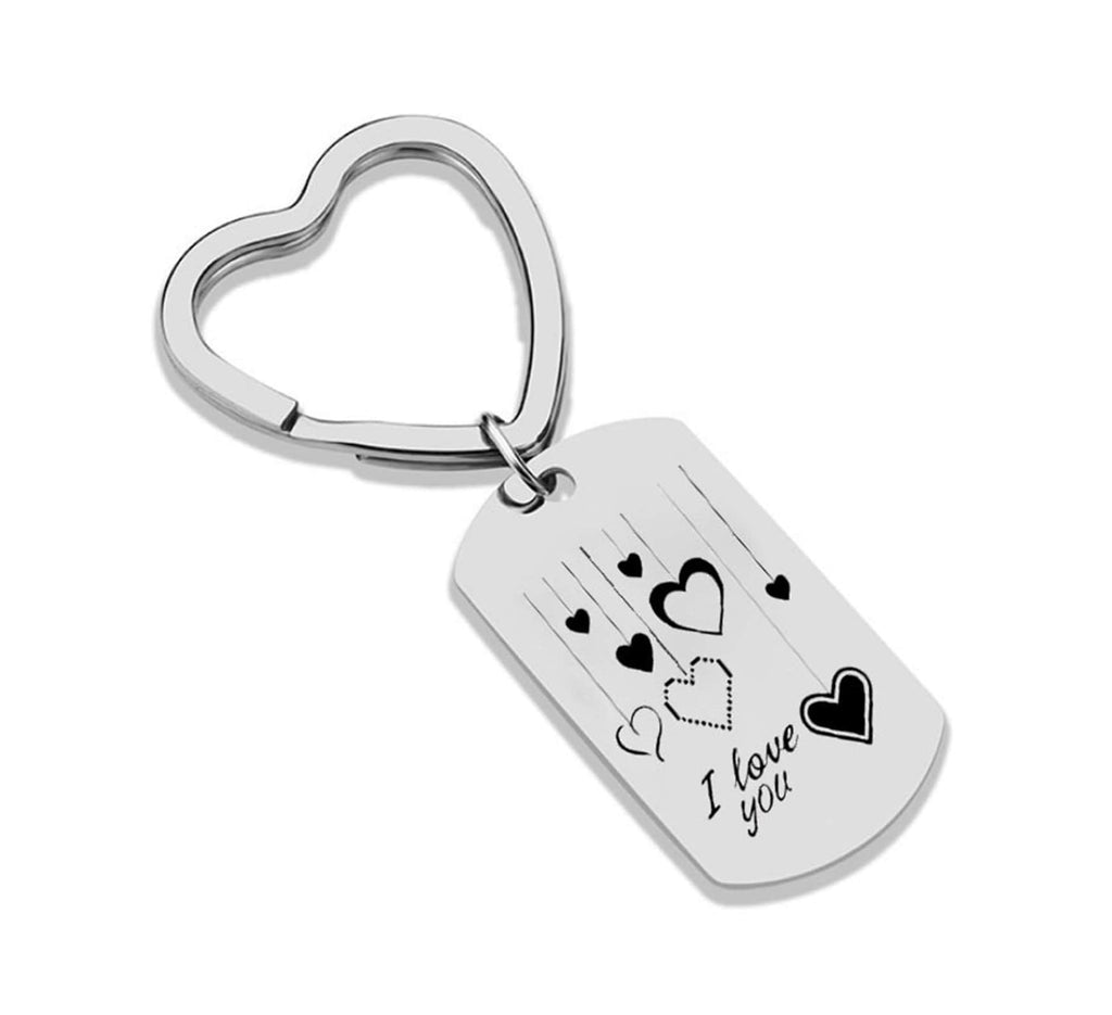 Key Rings Personalized Stainless Steel Keychain Dog Tag Engraved Heart Pattern I Love You