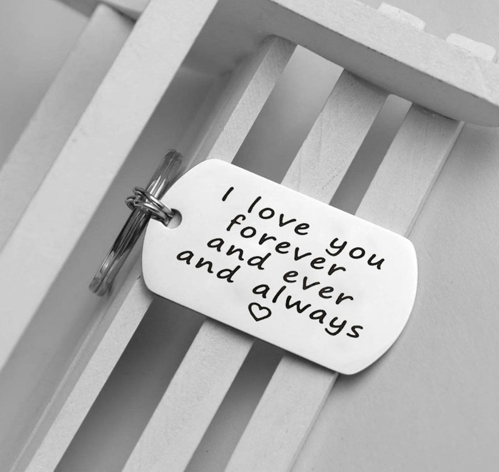 Key Rings Heart Stainless Steel Jewelry I Love You Forever And Ever And Always Silver