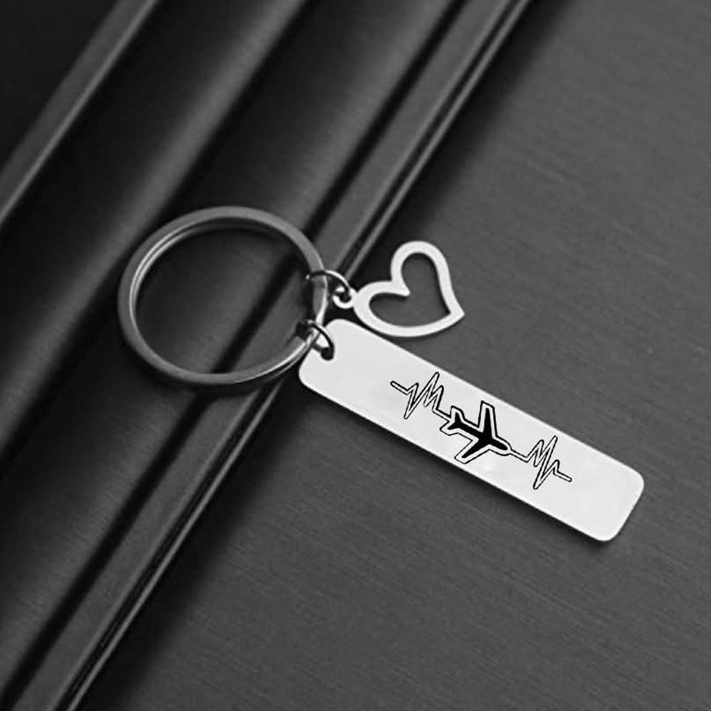 Keyrings for Teenage Girls Stainless Steel Keychain for Unisex Plane Heart Silver