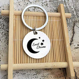 Keyring Girls Stainless Steel Keychain Heart/Round Ring With Circle Engraved Moom And Sweet Dreams