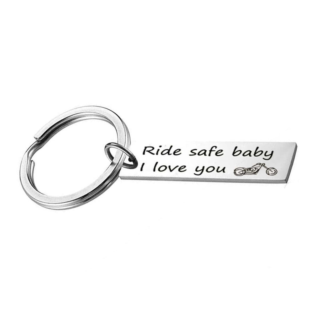 Keyring Men Stainless Steel Accessory for Men Ride Safe Baby I Love You Silver