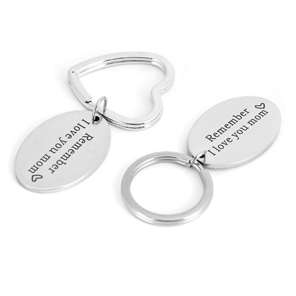 Keyring Rings Stainless Steel Accessory for Men Remember I Love You Mom Silver