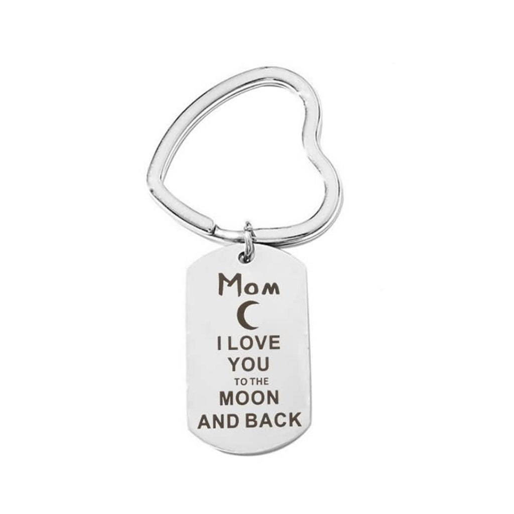 Keychains Engraved Stainless Steel Accessory for Men Aunt I Love You To The Mond And Back Silver