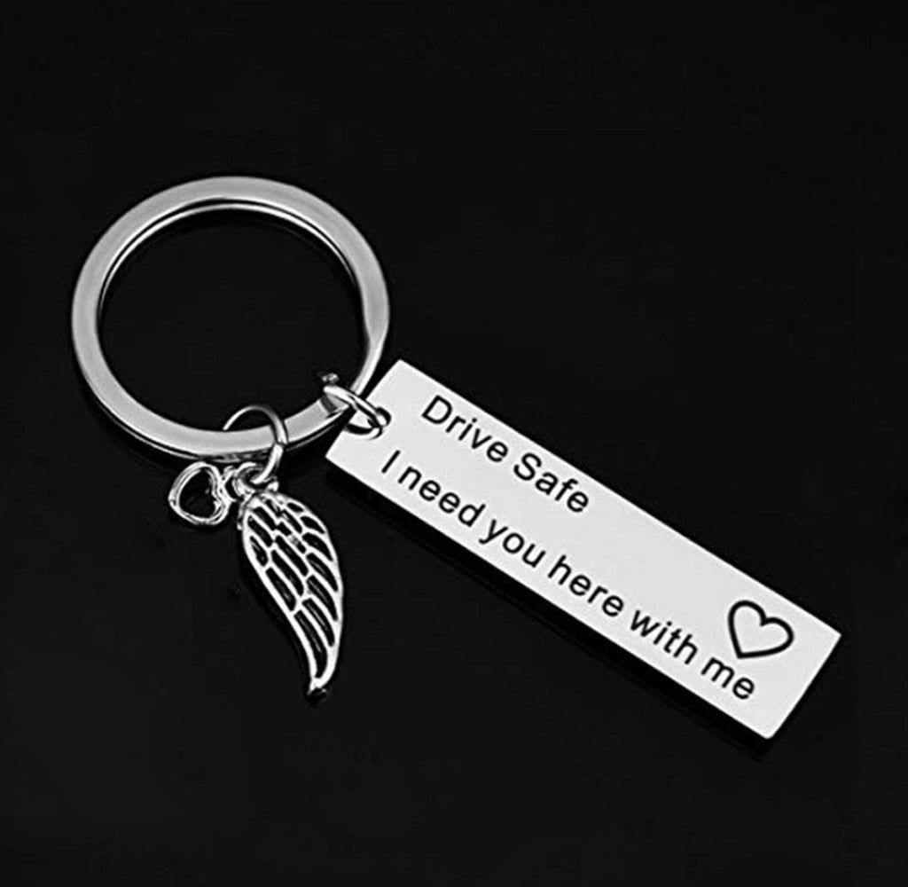 Key Rings for Girls Stainless Steel Keychain Wing And Engraved Drive Safe I Need You Here With Me