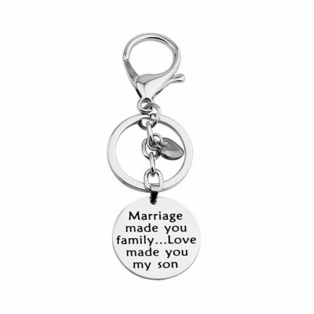 Key Rings for Her Stainless Steel Keychain Round Tag Remember I Love You Dad