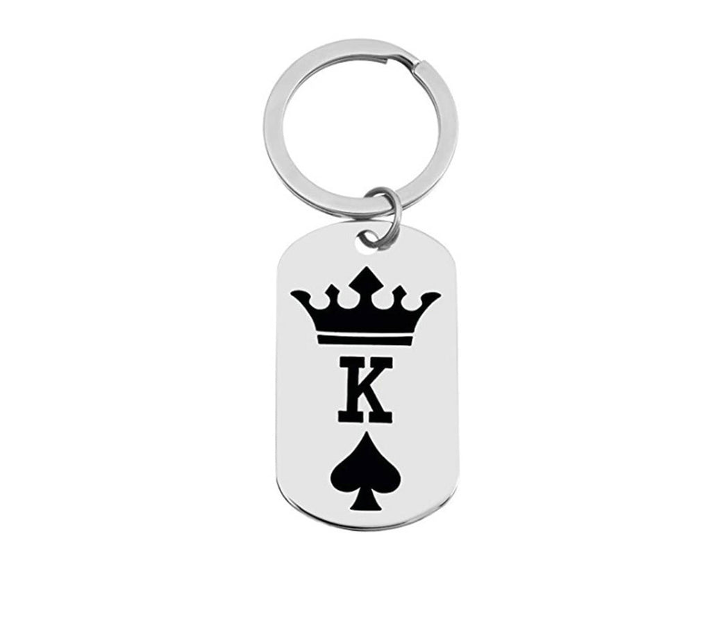 Keychains for Men Stainless Steel Keychain for Unisex Tag K And Crown Silver