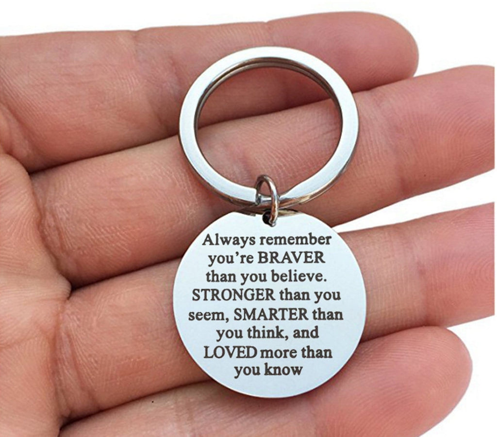 Keyring Keychain Stainless Steel Keychain Heart Ring With Circle Engraved Always Remember You Are Braver