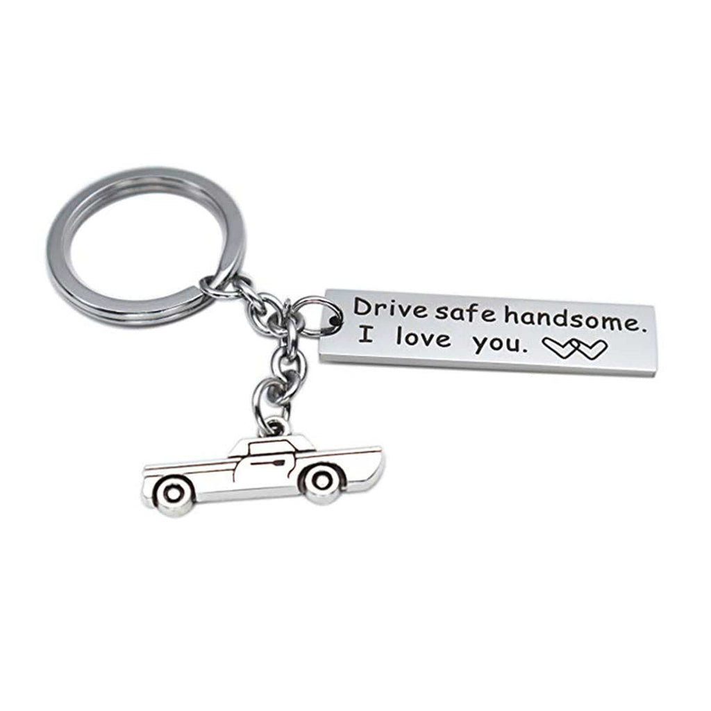 Keyring Engraving Stainless Steel Keychain Car Charms Engraved Drive Safe Handsome, I Love You