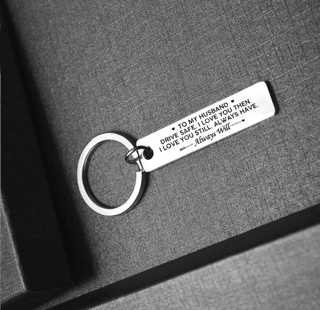 Keychains for Him Stainless Steel Accessory for Men Rectangle Bar Engraved To My Husband, Drive Safe. I Love You Silver