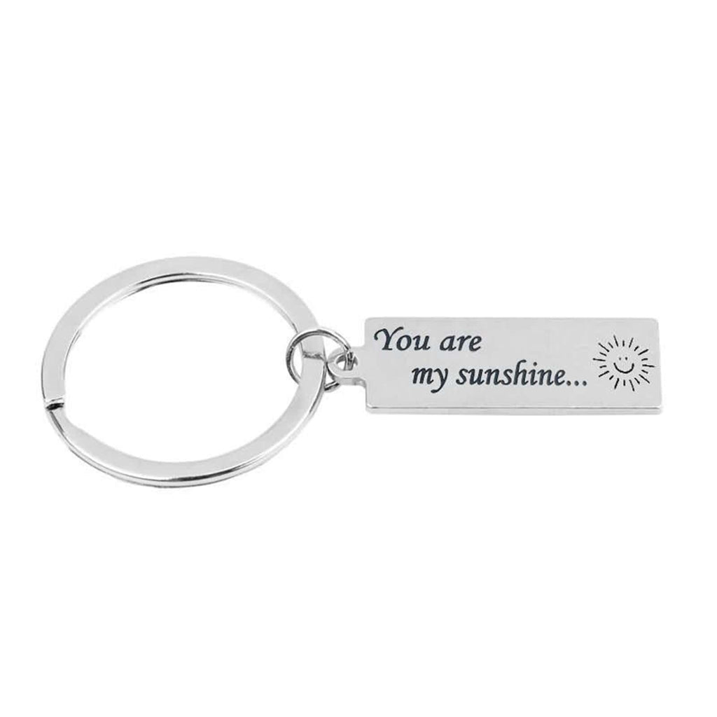 Key Rings for Men Stainless Steel Keychain for Unisex You Are My Sunshine Silver