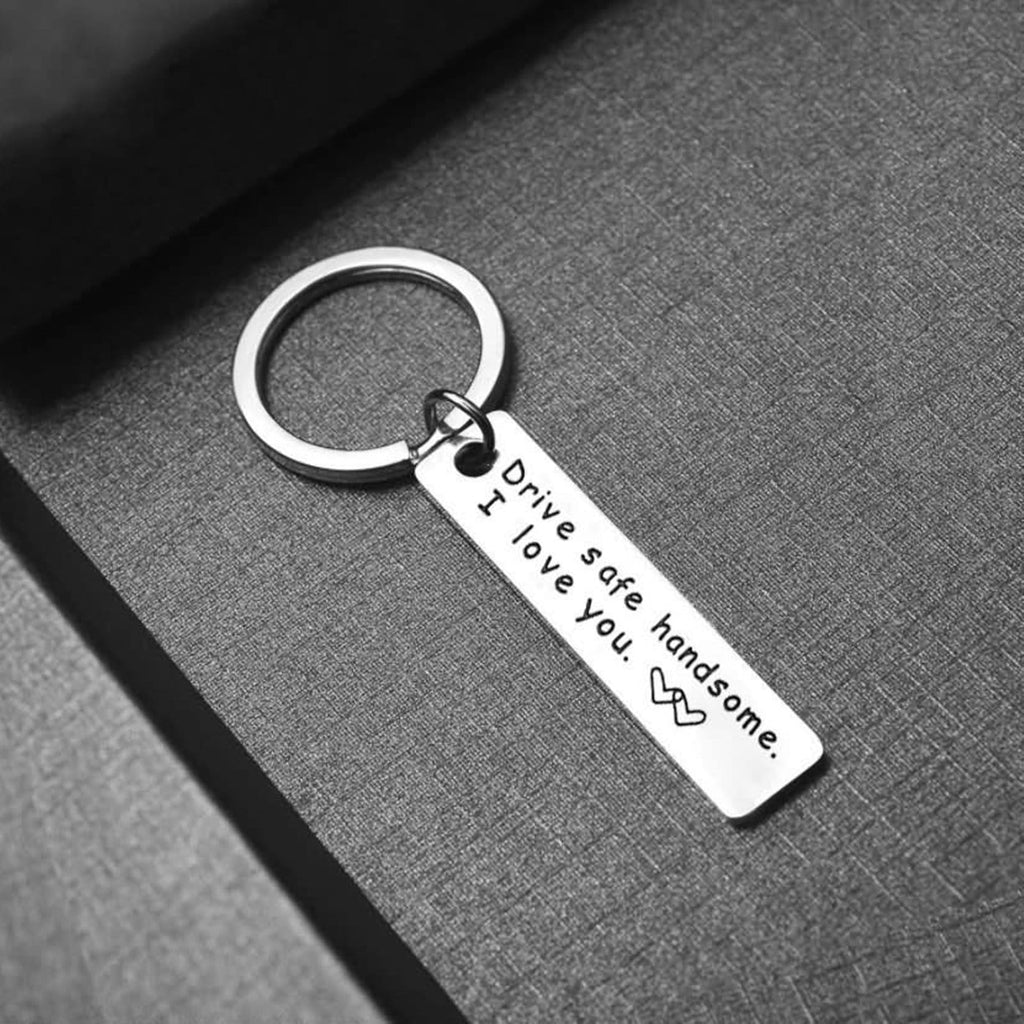 Key Rings for Women Stainless Steel Accessory for Men Drive Safe Handsome. I Love You Silver