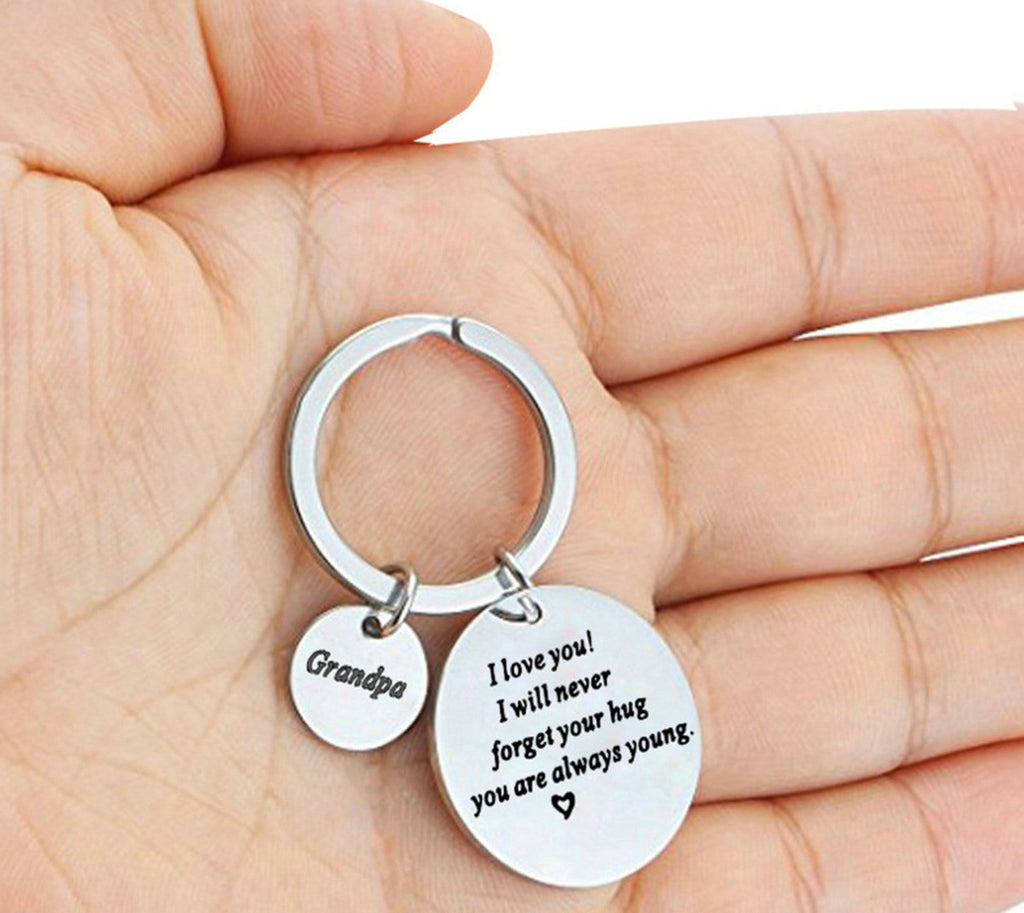 Keyrings for Him Stainless Steel Keychain for Unisex Round Tag Engraved Grandma I Love You Silver