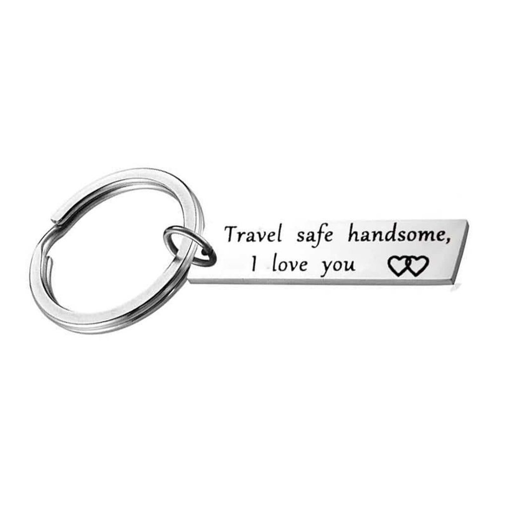 Keyring Keychain Stainless Steel Accessory for Men Heart Travel Safe Handsome,I Love You Silver