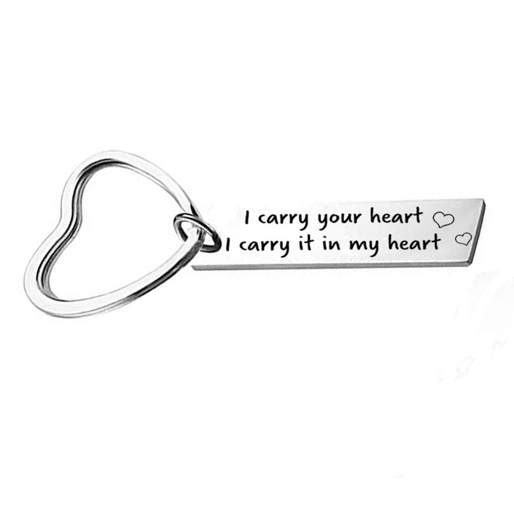 Keychain Accessories Stainless Steel Keychain Heart Ring With Engraved I Carry Your Heart I Carry It Inmy Heart