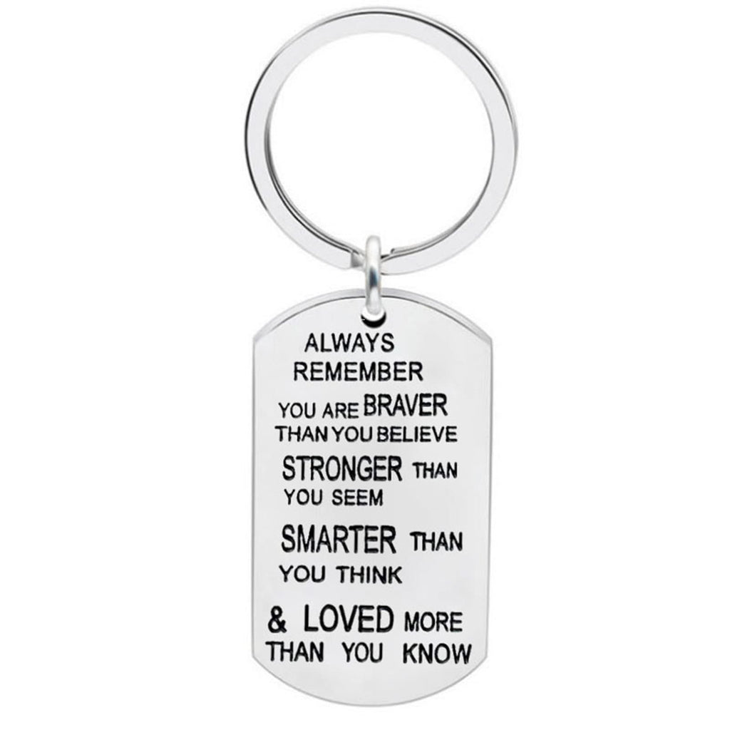 Novelty Car Keyring Stainless Steel Keychain Dog Tag Always Remember You Are Braver