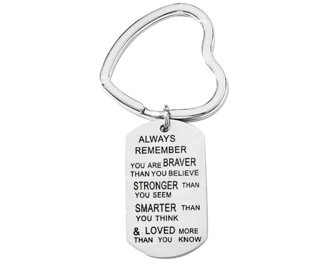 Keychain for Women Stainless Steel Jewelry Always Remember You Are Braver Silver