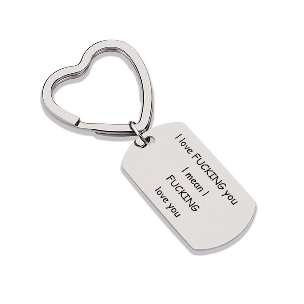 Keychain Hoop Stainless Steel Accessory for Men I Fucking Love You Heart Silver