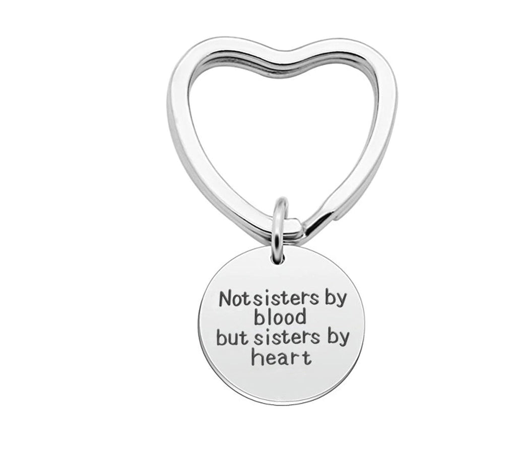 Keychain Knot Stainless Steel Accessory for Women Heart Engraved Not Sisters By Blood But Sisters By Heart Silver