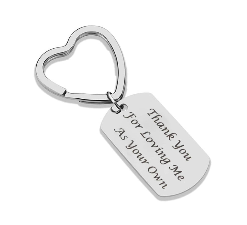 Keychain Bag Stainless Steel Keychain for Unisex Heart Engraved Thank You for Loving Me As Your Own Silver