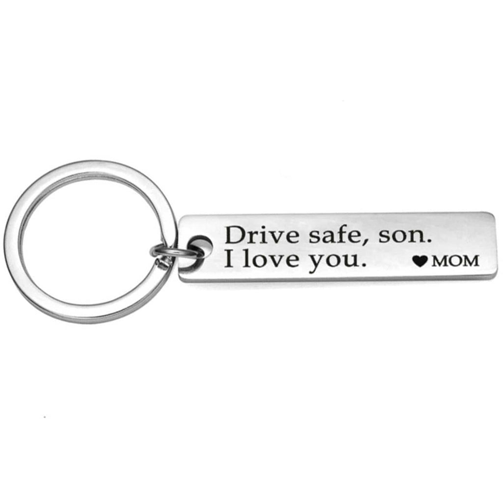 Key Rings for Girls Stainless Steel Jewelry Drive Safe Son I Love You. Mom Silver