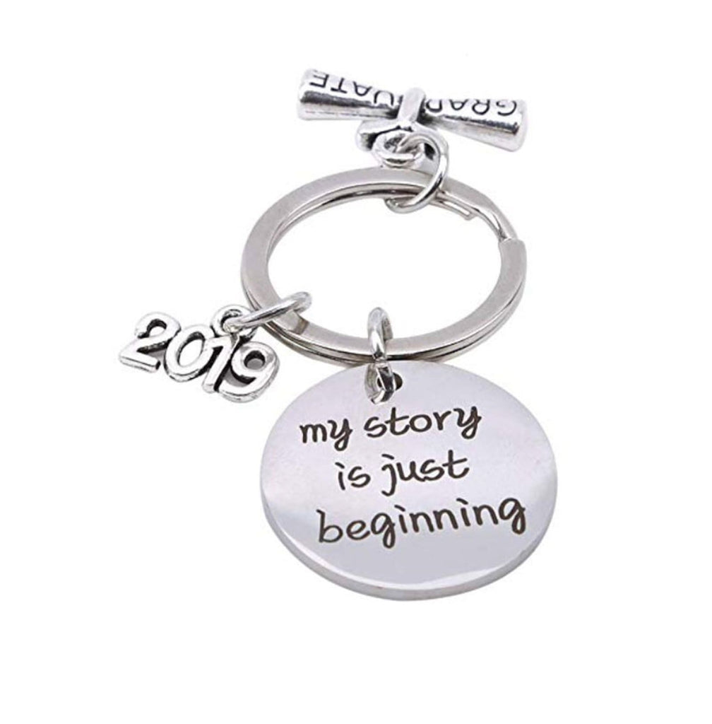 Key Rings for Her Stainless Steel Keychain Round Plate Engraved Class Of 2019