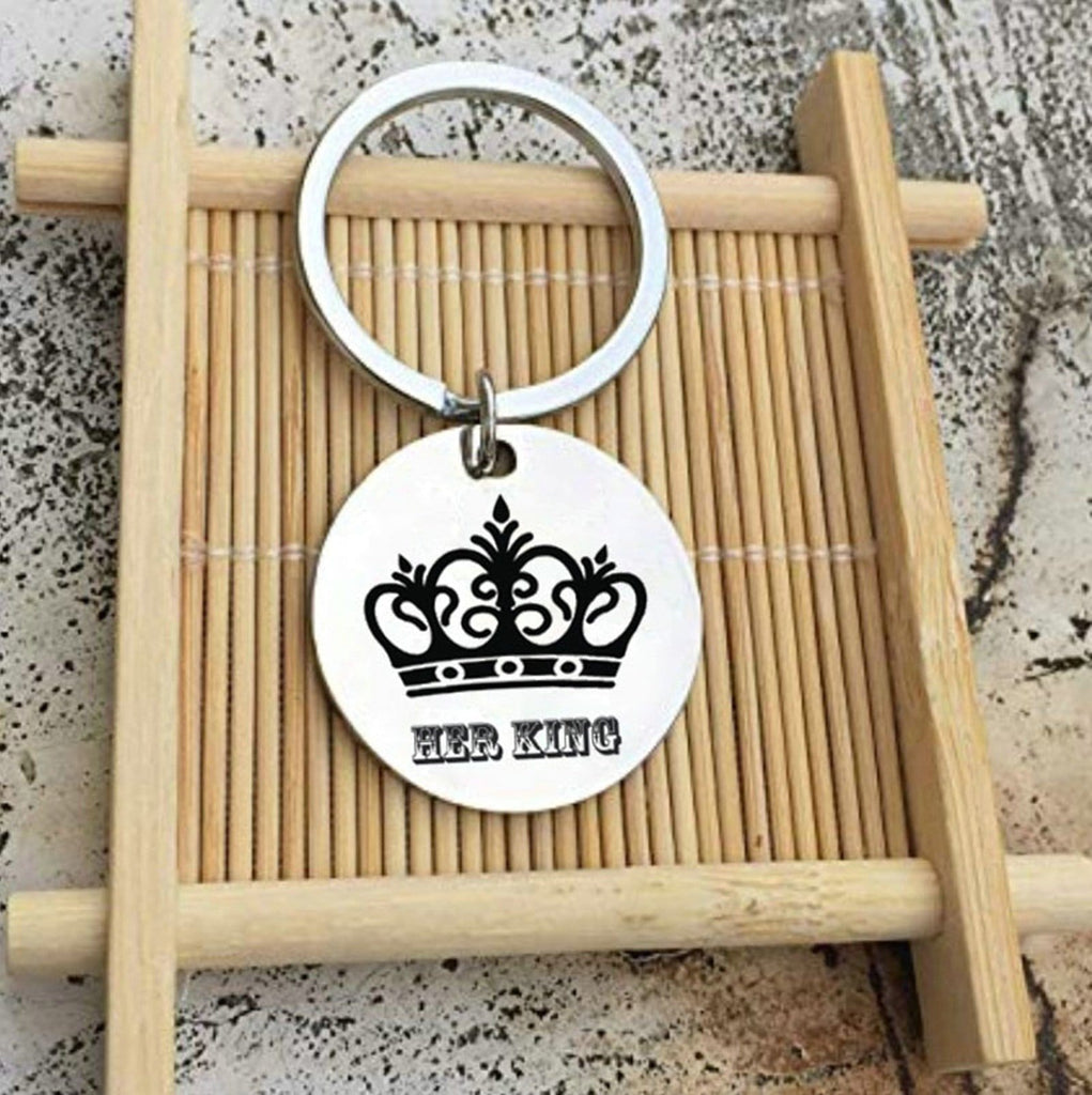Key Rings for Women Stainless Steel Keychain for Unisex Round Tag Engraved Crown Her King Silver
